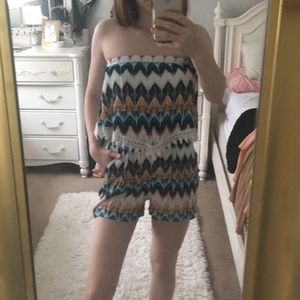 Colorful strapless romper